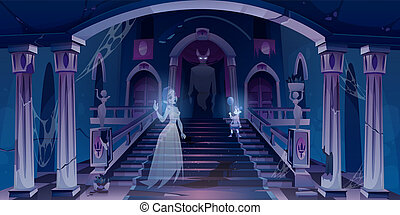 Old castle with ghosts flying in dark scary room