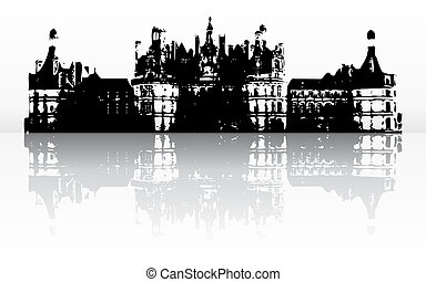 old castle with reflection (vector)