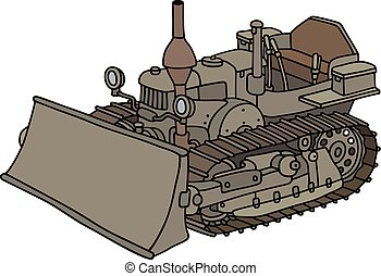 Old caterpillar dozer - Hand drawing of a vintage pimp