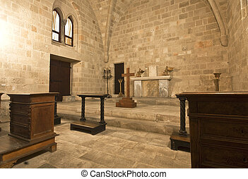 Old cathedral at Rhodes templar castle in Greece
