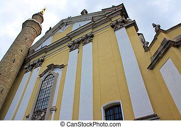 Old catholic church in Kamenets Podolskiy, Carpathians, ...