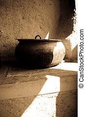 Old cauldron in village