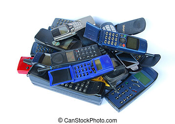 Old cell phones on white background