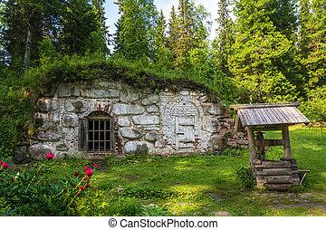Old cellar in the Botanical garden on Bolshoi Solovetsky island, Arkhangelsk oblast, Russia.