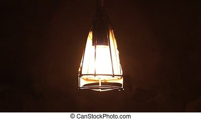 Old Cellar Lamp Light - Metal protected rusty lightbulb, in...