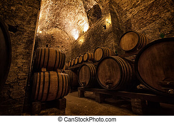 Old cellar with barrels for storage of wine, Italy