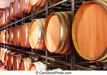 Old cellar with big wooden wine barrels