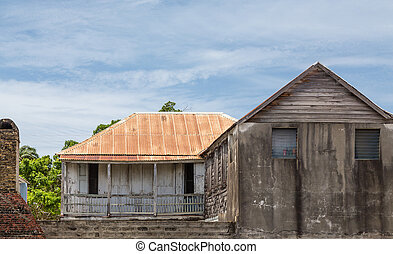 Old Cement Building with Tin Roof