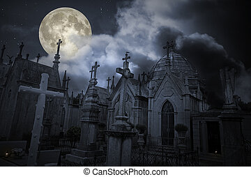 Old cemetery in a full moon night