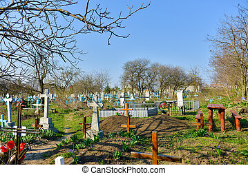 Old cemetery in a hot summer day