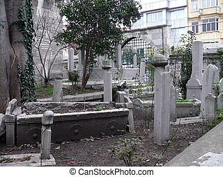 Old cemetery in Istanbul city. Turkey