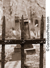 Old Cemetery through Iron Fencing