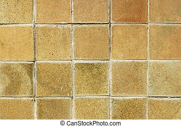 old ceramic brick tile wall