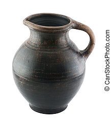 Old ceramic jug with a white background