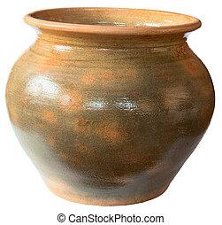 Old ceramic pot on white background