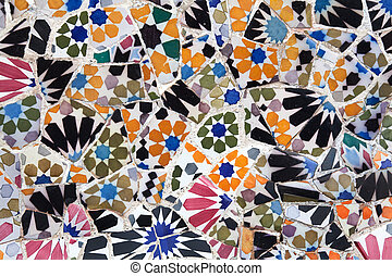 Park Guell - Barcelona, Spain - Old ceramic tiles in Park ...