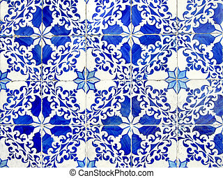 Old ceramic tiles - Old typical portuguese tiles called...