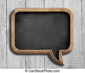 old chalkboard in shape of speech bubble on white wood