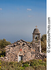 Old stone chapel close to Lakonia in Peloponnese, Greece, February 2010