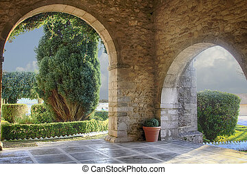old chapel entrance in San Vicente de la barquera Spain
