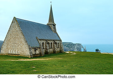 Old chapel in Etretat, Normandy, France.