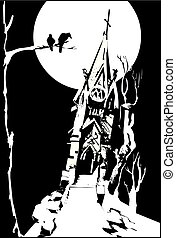 Old chapel in ruins under the moonlight, vector illustration
