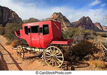 Old chariot on red rock canyon ,Nevada