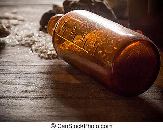 Old chemical bottle spill