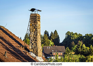 Old chimney with a ladder on a roof