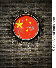 Old China flag in brick wall