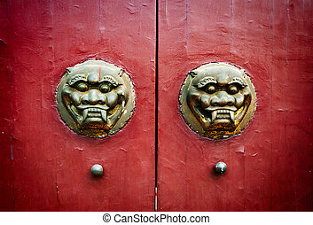 Old chinese door - Traditional Chinese ancient architecture...