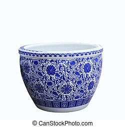 old chinese flowers pattern style painting on the ceramic bowl,	porcelain isolated white object