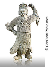 old chinese statue in the courtyard of the buddhist tample ...
