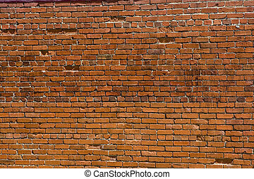 Old Chipped and Broken Brick Wall