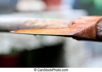 Old chopping axe - picture of an old rusty oxidated chopping...