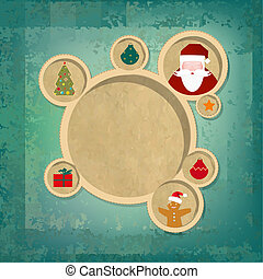 Old Christmas Web Design Bubbles And Santa Claus