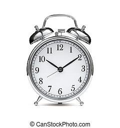 Old chrome fashioned alarm clock isolated