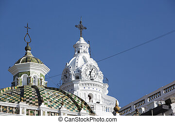 Old chruch in Quito with blue sky