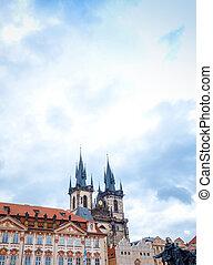 Old Church ancient architecture in Prague, Czech Republic