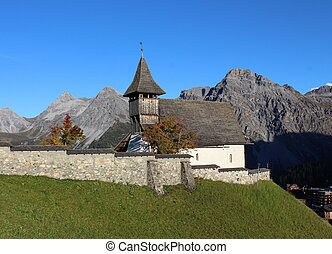 Old church and mountains in Arosa
