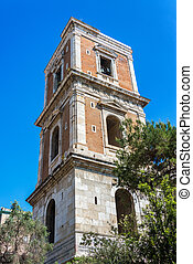 Old Church Bell Tower in Naples, Italy