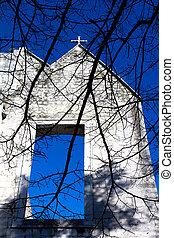 Old church blue sky