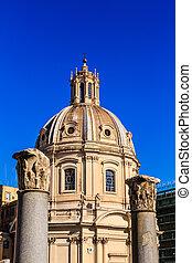 Church Domes Beyond Ancient Columns