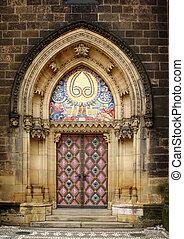 old church door in Vishegrad, Prague