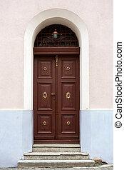 old church door - old wooden church door with gold trim,...