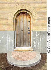 Old Church Exterior Wood Door Entry