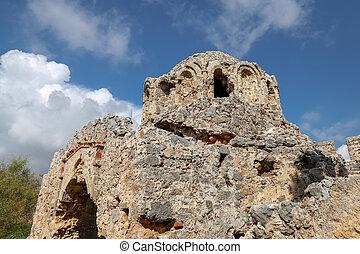 Old Church in Alanya Castle, Alanya, Antalya, Turkey - Old...