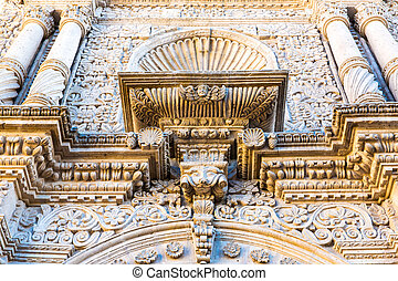 Old church in Arequipa, Peru, South America. Arequipa's Plaza de Armas is one of the most beautiful in Peru.