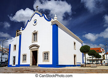 Old church in Ericeira, Portugal. Summer day.
