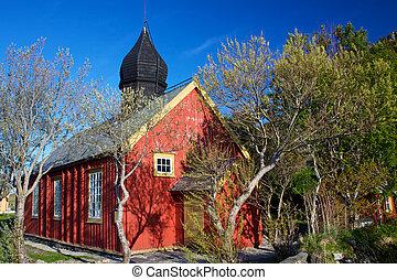 Oldest church on Lofoten islands in Norway on island of Vaeroy in village of Nordland